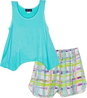 Lori /& Jane Big Girls Green Black Sparkle Love 2pc Tank Top Shorts Outfit 6-16