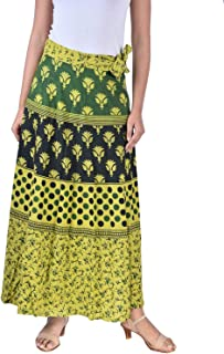 Rangun Presents Jaipuri Printed Cotton Full Length Skirt (Free Size) Green