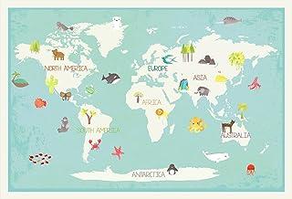 Our World Interactive Map, 12x18 Inch Print World Map, Children's Wall Art Map, Kid's World Map, Educational Nursery Décor...