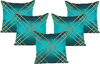 RADANYA Decorative Cushion Cover Set of 5 Pcs with Golden Thread Dupion Silk Case Throw - 24x24 Inch, Turquoise