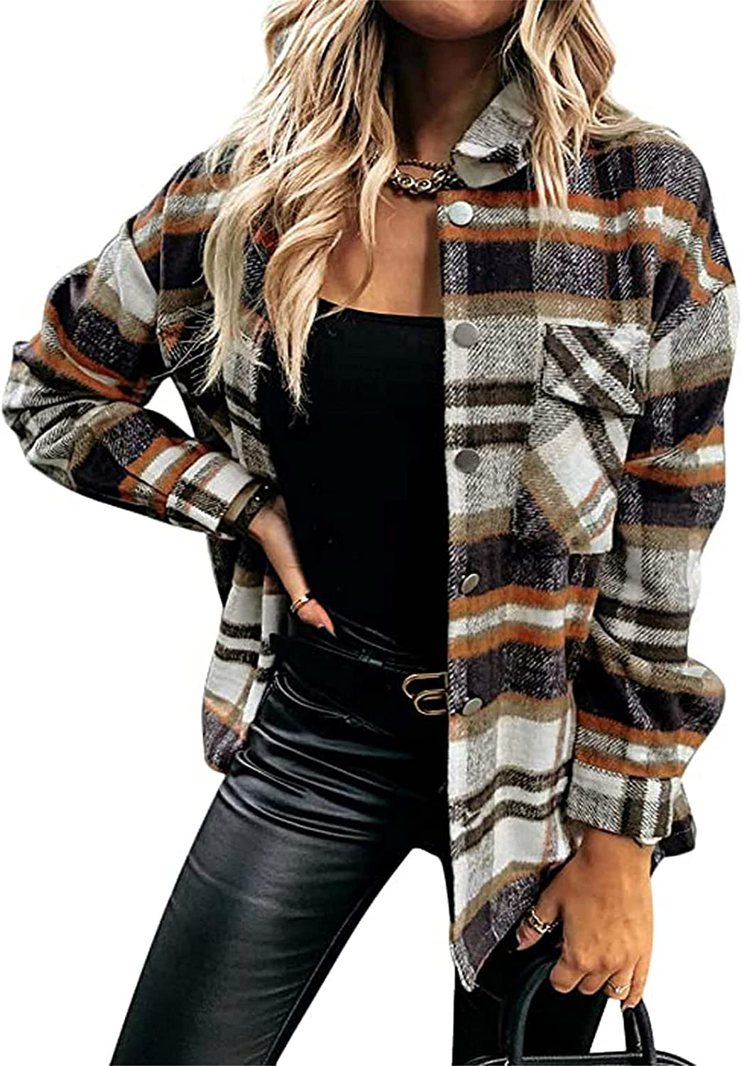 YMING Womens Color Block Plaid Cardigan Flannel Button Down Shirts Long Sleeves Blouse Tops with Pockets