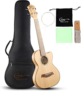 Hricane Tenor Ukulele 27 Inch Cutaway Slim Extra Slim Light Spalted Maple Ukulele for Beginner with Gig Bag Strap Strings Sets