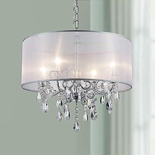 Bestier Moderno colgante de cristal tambor araña iluminación lámpara de techo lámpara comedor comedor baño dormitorio sala de estar 4 G9 bombillas requeridas