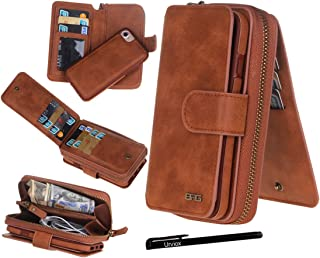 """Urvoix iPhone 7 / iPhone 8 Case, Premium Leather Zipper Wallet Multi-Functional Handbag Detachable Removable Magnetic Case with Flip Card Holder Cover for iPhone 7 / iPhone 8 (4.7"""") Brown"""