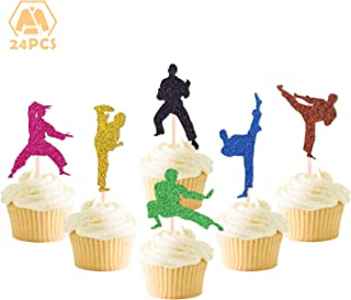 24 Pcs Karate Taekwondo Cupcake Toppers for Boys Girls Kids Baby Shower Wedding Birthday Event Party Supplies Glitter Cake Decorations