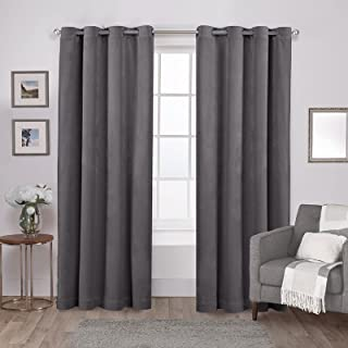 Exclusive Home Curtains Velvet Heavyweight Grommet Top Curtain Panel Pair, 54x96, Soft Grey, 2 Count