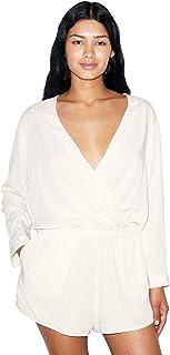 American Apparel Women`s Viscose 3/4 Sleeve Crossfront Romper