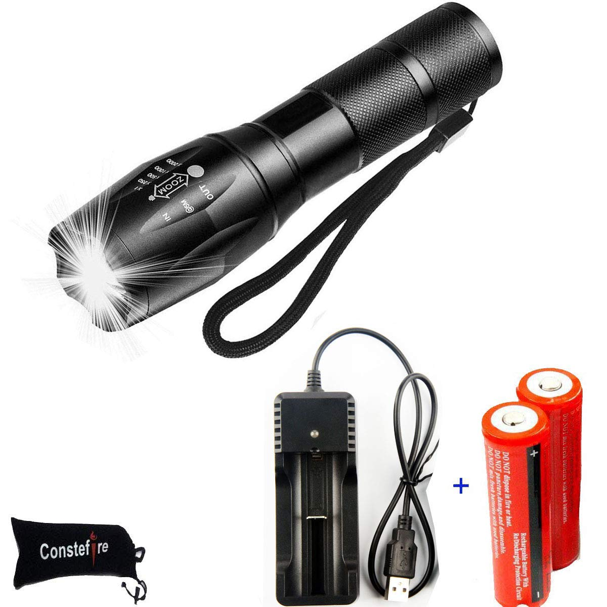Flashlight Constefire Rechargeable Adjustable Emergency