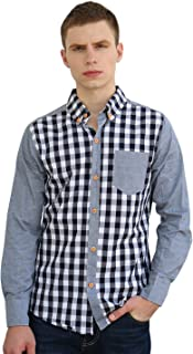 uxcell Men Yarn-Dyed Plaids Button Down Shirt
