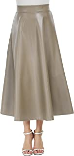 Women's Pleated High Waist Faux Leather Skirts Swing A-Line Maxi Skirt