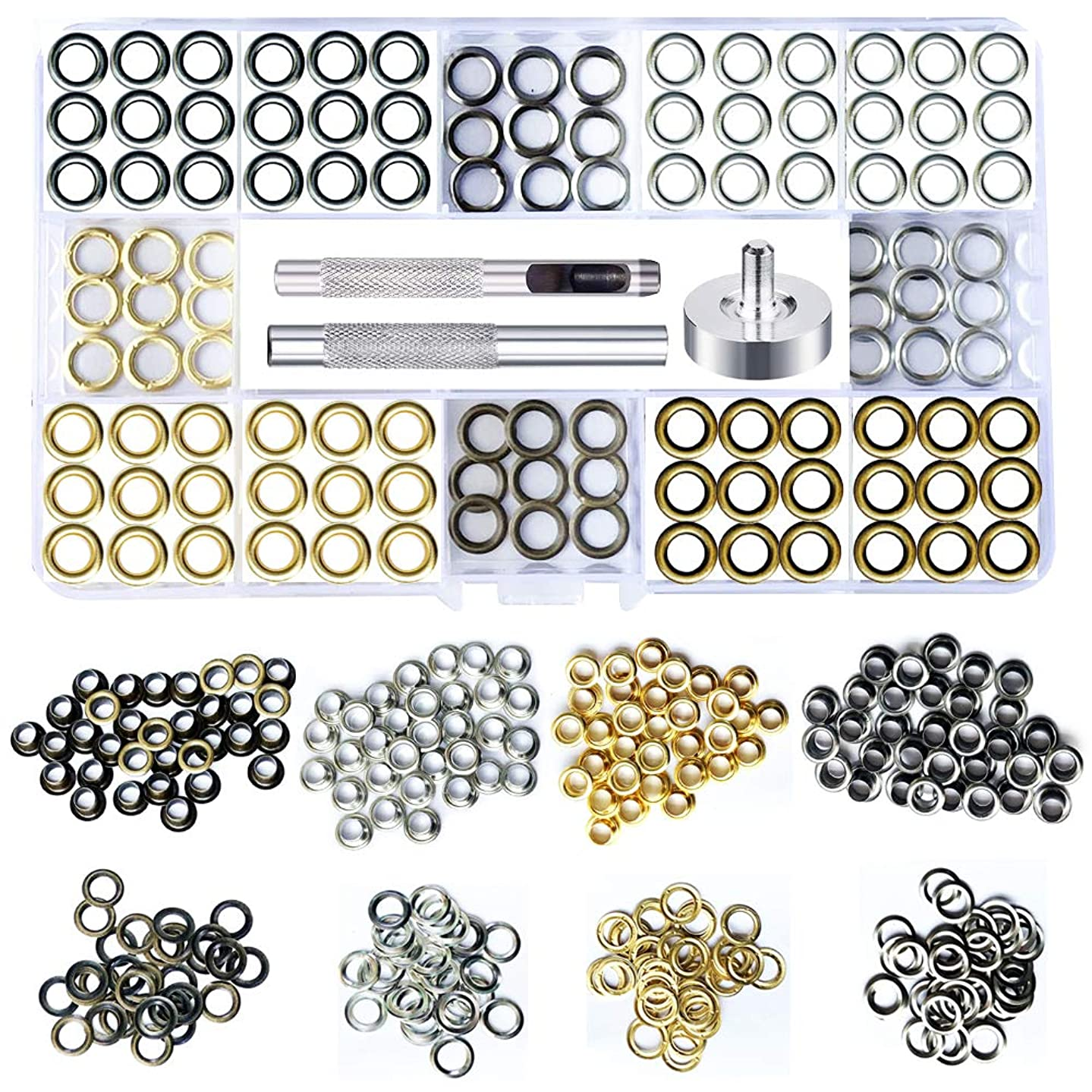 SuperJpsor 200 Sets of Metal Eyelets,Brass,Silver,Copper and Black Stainless Steel Buttonholes and Installation Tools for Repair and Replacement of Shoes,Clothing and Leather Eyelets,Grommet Kit