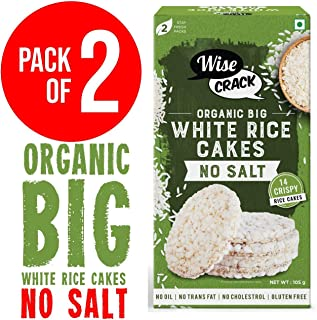 NO Salt, Unsalted. WiseCrack (Organic Big White Rice Cake). Whole Grain Puffed Cracker, Crispy HEALHTY Snacks (Pack of 2, 210 gm)