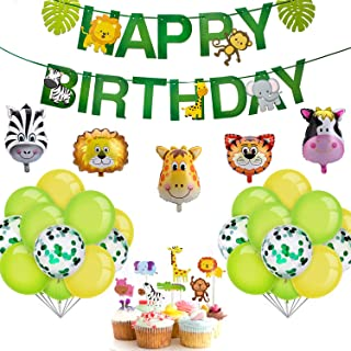 iZoeL 48 Globos Animales La Selva Globos Helio , Happy Birthday Banner, animal Cumpleaños Selva Cumpleaños Fiesta Deco