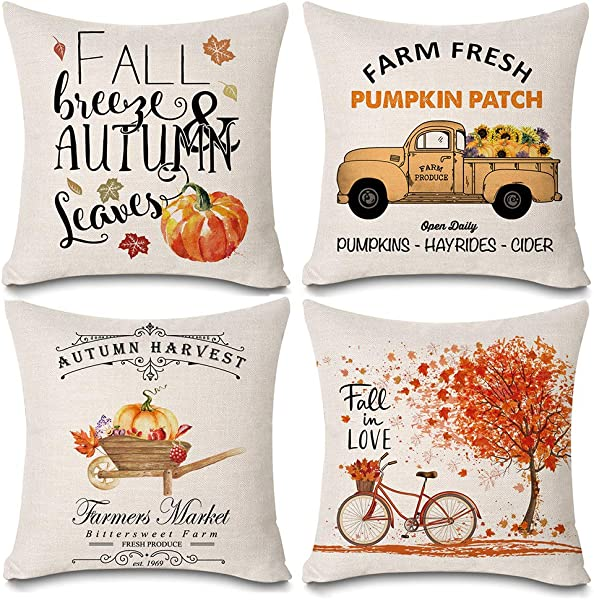 Kithomer Happy Fall Pillows Decorative Throw Pillow Covers Autumn Harvest Pillow Case 18 X 18 Inch Farmhouse Decorations Set Of 4