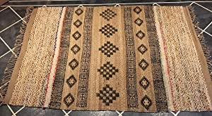 Shari - Alfombra de Lana y Yute Natural de Comercio Justo con Hilos Sari reciclados Estampado de Bloques - Rayas geométricas, Yute, 120 cm x 180 cm