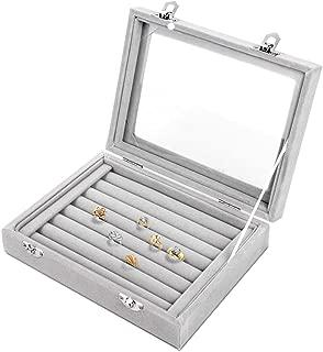 Pour garder vos boucles doreilles HooAMI En velours 1/bo/îte /à bijoux 23 cm x 14,5 cm x 2,8/cm