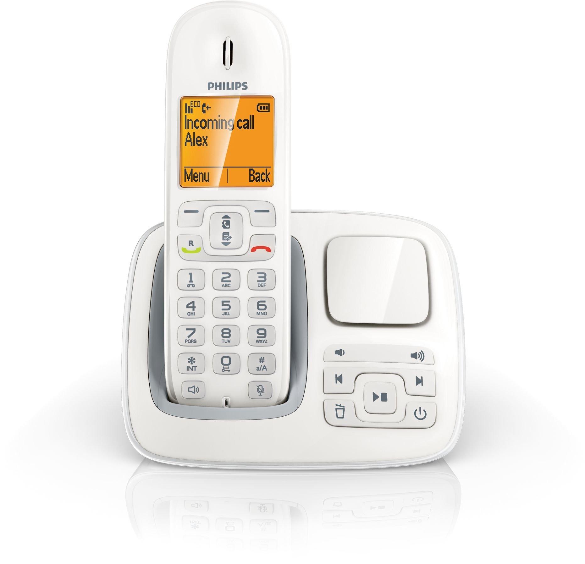 Philips CD2951W/22 - Teléfono (Teléfono DECT, Altavoz, 100 entradas, Identificador de Llamadas, Blanco): Amazon.es: Electrónica