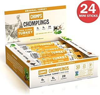 CHOMPS MINI Free Range Turkey Jerky Meat Snack Sticks   Keto Certified, Whole30 Approved, Paleo, Low Carb, High Protein, Gluten Free, Sugar Free   29 Calorie 0.5 Oz Sticks, Original Turkey 24 Pack