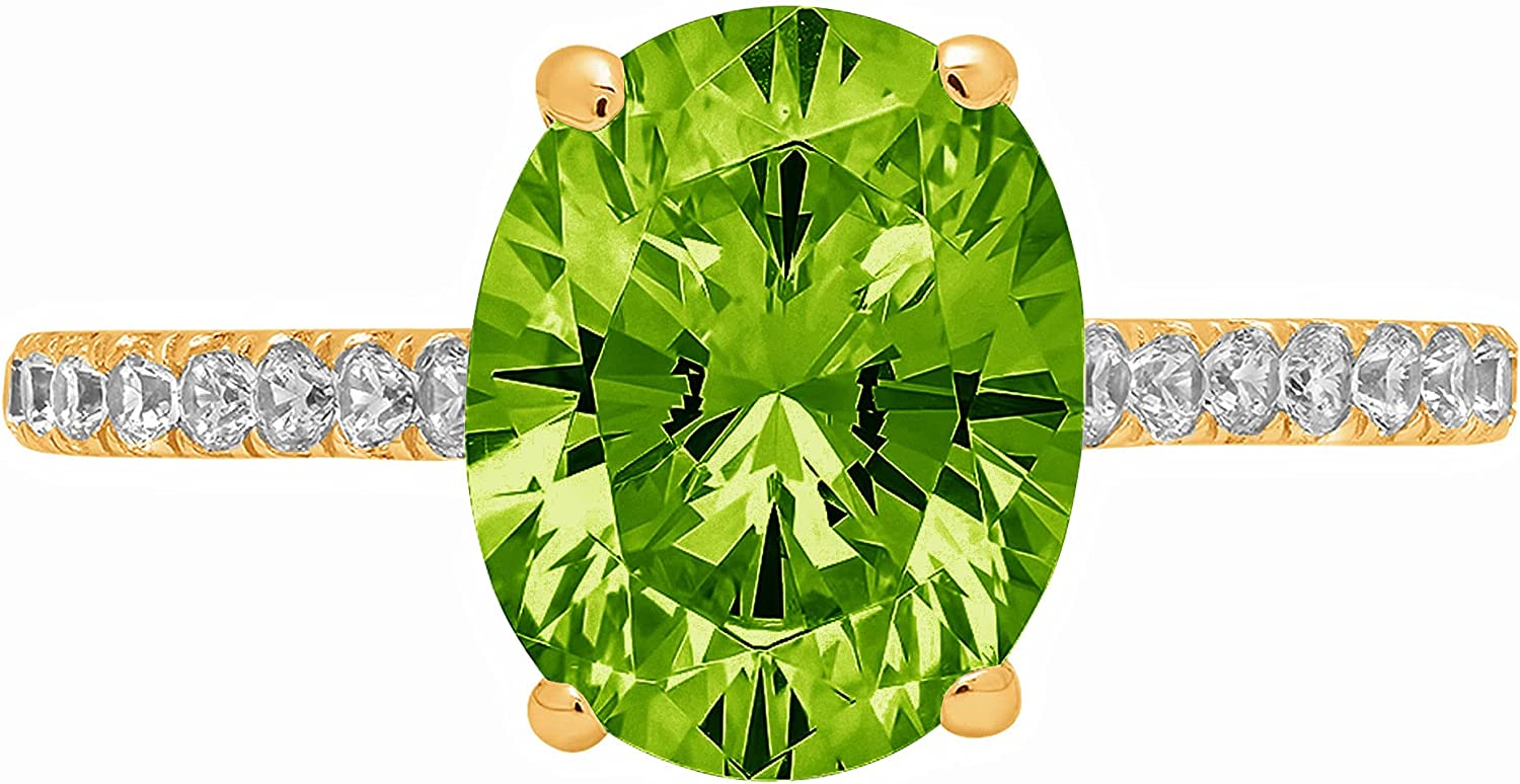2.71ct Brilliant Oval Cut Solitaire Accent Genuine Flawless Natural Green Peridot Gemstone Engagement Promise Anniversary Bridal Wedding Ring Solid 18K Yellow Gold