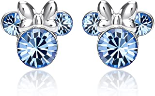 Disney Minnie Mouse Birthstone Jewelry, Silver Plated Crystal Stud Earrings for Women and Girls Mickey's 90th Birthday Anniversary (More Colors Available)