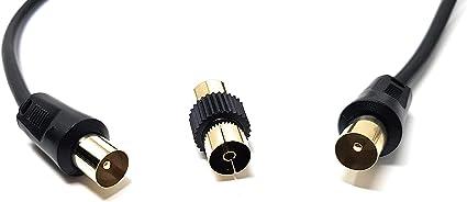 MainCore Cable coaxial para antena de TV o AV de 5 m de largo, con acoplador, cable de extensión, para TV, Freeview, satélite, UHF, TV RF, VCR.