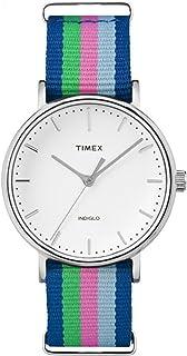 Timex Women's TW2P91700 Fairfield 37 Blue/Pink/Green Nylon Slip-Thru Strap Watch