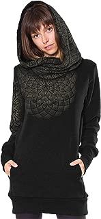 Women's Hoodie Dress Lotus Flower Pointillism Dots Light Gray Pullover