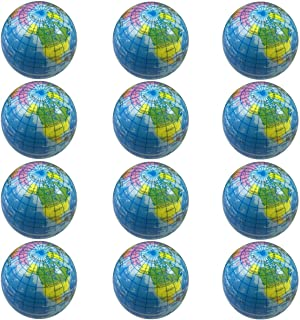 Globe Stress Balls Earth Ball Stress Relief Toys Therapeutic Educational Balls 12pcs 2.5 Inch Stress Balls