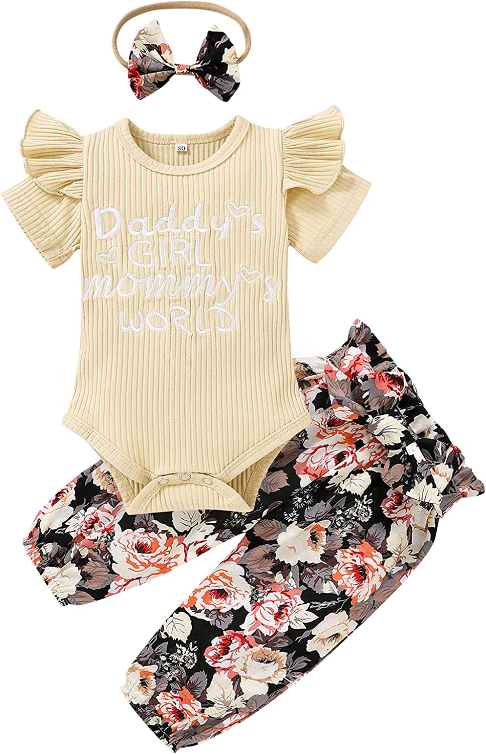 Infant Baby Girl Clothes Summer Baby Ribbed Romper Embroidered Letters Onesies Floral Skirt Pants Toddler Outfits Shorts Set