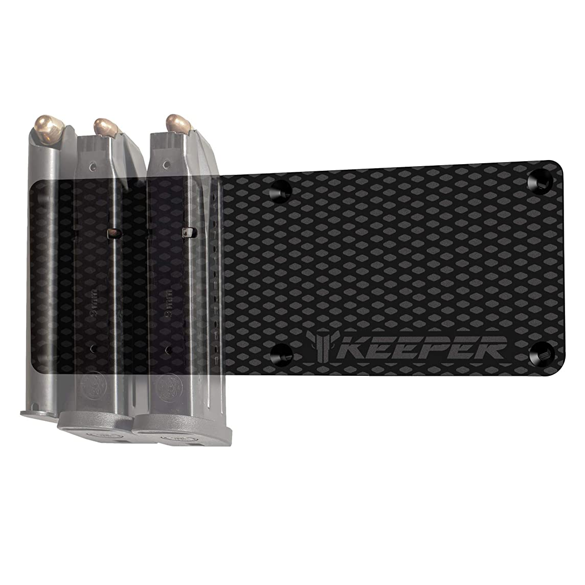 KEEPER MG Magnetic Ammunition Holder for Gun Magazines and Clips. Mount in Your Gun Safe, Locker, Cabinet, Vault. The Ultimate Ammo Storage Accessories for Handgun, Pistol and Rifle Mags.