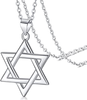 FaithHeart Star of David Jewish Necklace-Sterling Silver Pendant for Women-The Seal of Solomon Talisman Tantrism Hexagram ...