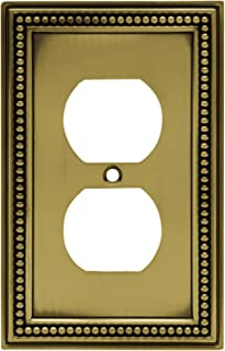 Brainerd 64400 Beaded Single Duplex Outlet Wall Plate / Switch Plate / Cover, Tumbled Antique Brass