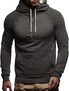 Leif Nelson Herren Kapuzenpullover Slim Fit Baumwolle-Anteil Moderner weißer Herren Hoodie-Sweatshirt-Pulli Langarm Herren schwarzer Pullover-Shirt mit Kapuze LN8125