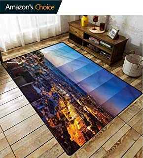TableCoversHome Urban Traditional Area Rug Living Room, Lisbon City Landscape Photo Pattern Printing Rugs, Fashionable High Class Living Dinning Room (2'x 6')