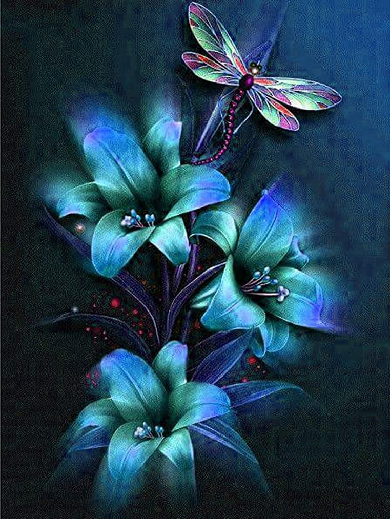 21secret 5D Diamond DIY Painting Full Drill Handmade Blue Dreamy Flowers and Dragonfly Cross Stitch Home Decor Embroidery Kit