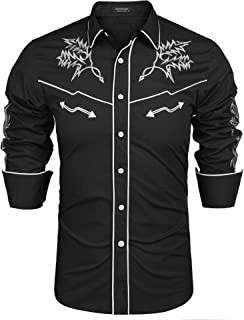 Mens Western Cowboy Shirt Embroidered Denim Long Sleeve Casual Button Down Shirt