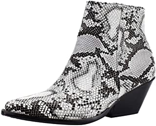 Womens Classic Chelsea Ankle Boots,Casual Low Heel Snakeskin Pointed Toe Side Zipper Fashion Bootie