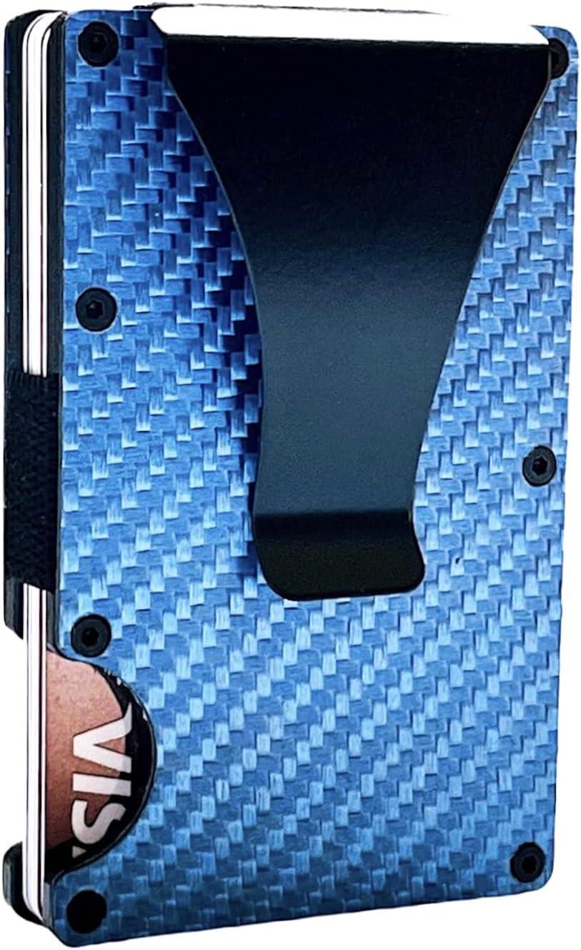 Mens RFID Blocking Slim Money Clip Carbon Fiber Wallet ID Credit Card Holder Metal Minimalist Wallets Great Gift For Your Family (Carbon Fiber Blue)