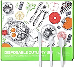 CHANG YA 360 Piece Heavy Duty Plstic Disposable Cutlery Set - 180 Forks & 120 Spoons & 60 Knives