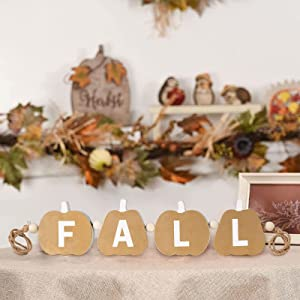hogardeck Wood Fall Decor - Farmhouse Pumpkin Fall Sign Wooden Wall Decor Gold, Indoor Outdoor Rustic Hanging Banner Decorations for Fireplace, Office, Front Door, Home, Garden, Tabletop