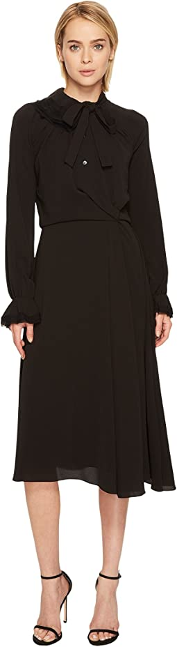 Zac Posen Crepe Embroidery Long Sleeve Dress
