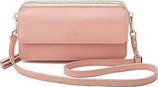 Damen-Geldbörse, RFID-blockierend, Handy-Geldbörse, Handgelenk, Clutch, kleine Tasche mit Riemen
