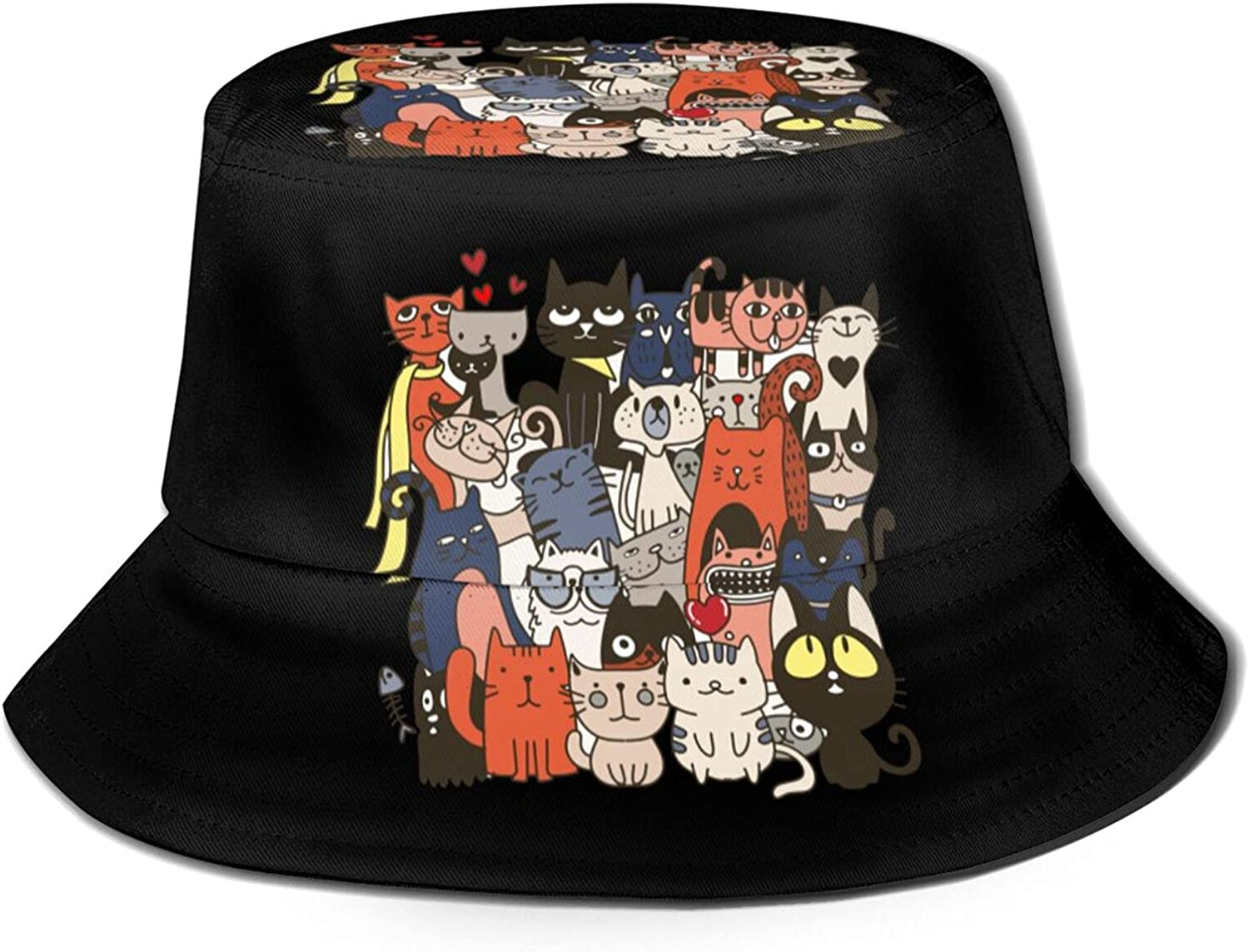 Funny Hand Drawn Cats Animals with Adorable Bucket Hats Beautiful Summer Travel Beach Sun Hat Black