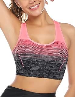 Aibrou Racerback Sports Bra Padded High Impact Yoga Sports Bra Seamless Ombre Workout Bra