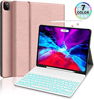 iPad Pro 12.9 Backlit-Keyboard Case 2020 - JUQITECH Smart Case with Keyboard for iPad Pro 12.9 4th Gen Wireless Rechargeable Keyboard Cover with Pencil Holder Support Apple Pencil Charging, Rose Gold