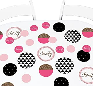 Big Dot of Happiness Chic 70th Birthday - Pink, Black and Gold - Birthday Party Giant Circle Confetti - Birthday Party Decorations - Large Confetti 27 Count