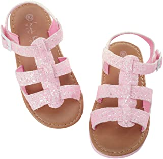 Nicole Miller Girls' Sandals – Glitter Leatherette Sandals with Buckle (Toddler)