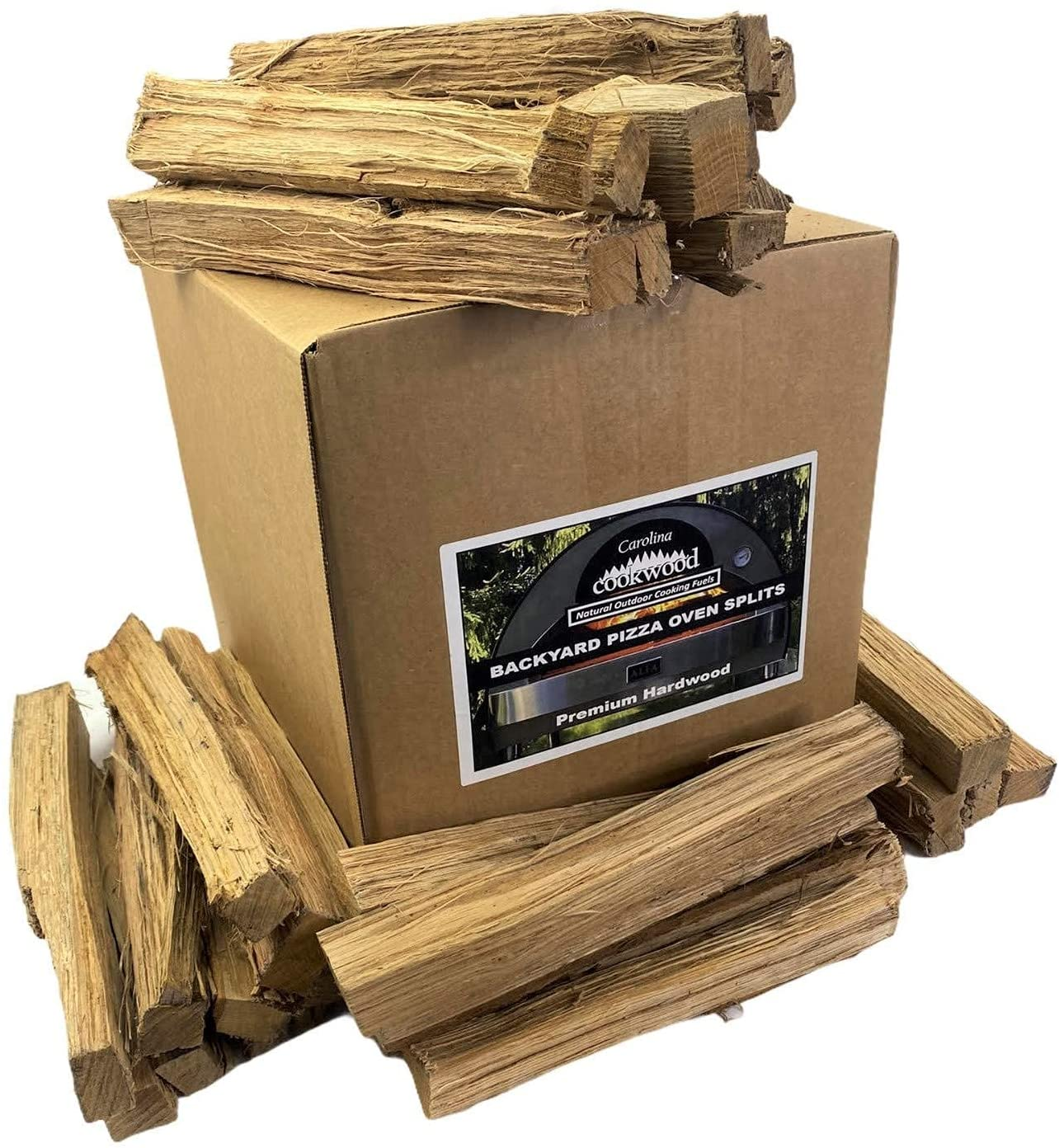 Carolina Cookwood Backyard Pizza Oven Splits Naturally Cured Premium White Oak Hardwood for Wood Fired Outdoor Cooking, Grilling, & Baking, 18-24 lb. Box with 12 in. Lengths