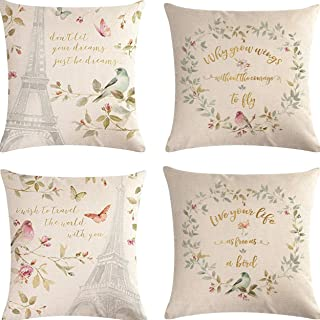 Hibedding Spring Birds Flower Throw Pillow Covers Case, Vintage Farmhouse Cushion Cover for Home Sofa,Bench, Bed, 18 X 18 Inch