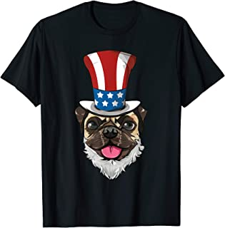 Pug Dog Uncle Sam Hat Lincoln Beard 4th Of July USA Boys T-Shirt